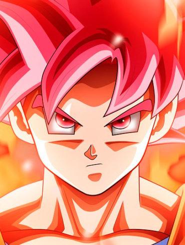goku con el pelo rojo y fuego de fondo